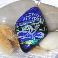 Fused Glass Handmade Dichroic Pendant - Swirly Blue Waters