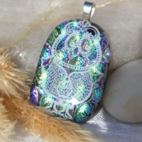 Fused Glass Handmade Dichroic Pendant - Holographic Green Owl