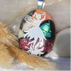 Fused Glass Handmade Dichroic Pendant - Angel Delight