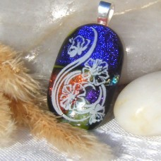 Fused Glass Handmade Dichroic Pendant - Organic Beauty