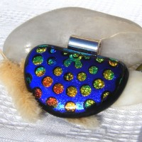Fused Glass Handmade Dichroic Pendant - 3d Spots