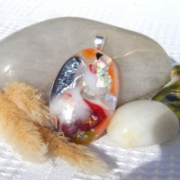 Fused Glass Handmade Dichroic Pendant - Red, White, Silver and Orange