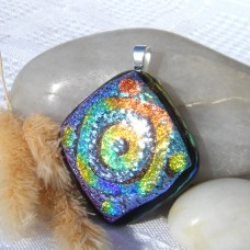 Fused Glass Handmade Dichroic Pendant - 3d Swirl