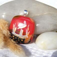 Fused Glass Handmade Dichroic Pendant - Golden Stork at Rest