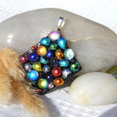Fused Glass Handmade Dichroic Pendant - Bubble Rainbow Delight