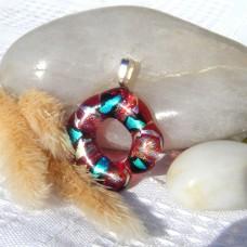Fused Glass Handmade Dichroic Pendant - Funky Doughnut