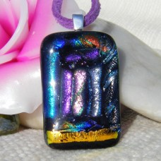 Multi 8 on Black Handmade Dichroic Glass Pendant