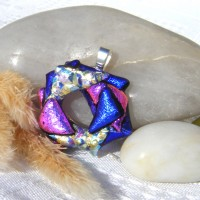 Fused Glass Handmade Dichroic Pendant - Triangle Multi Circle