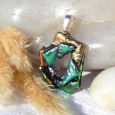 Fused Glass Handmade Dichroic Pendant - Green Triangle Circle