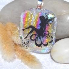 Fused Glass Handmade Dichroic Pendant - Serene Rainbow Fairy