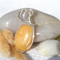 Handmade Pendant - Jade Oval Semi Precious Stone in Twisted Silver Setting