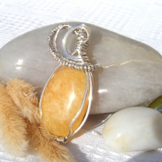 Handmade Pendant - Jade Oval Semi Precious Stone in Twisted Silver Setting