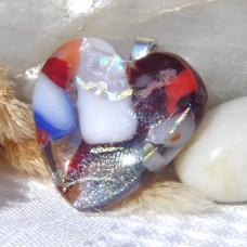 Fused Glass Handmade Dichroic Pendant - Multi Coloured Heart