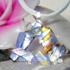 Shimmering Triangle Handmade Dichroic Glass Pendant