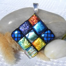 Fused Glass Handmade Dichroic Pendant - Diamond Square Patterns