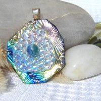 Fused Glass Handmade Dichroic Pendant - Pastel Rainbow Flower
