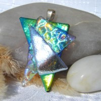 Fused Glass Handmade Dichroic Pendant - Blue Green Gold Triangles