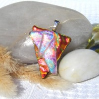 Fused Glass Handmade Dichroic Pendant - Red and Green Textured Triangle