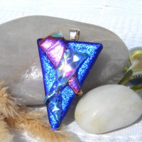 Fused Glass Handmade Dichroic Pendant - Vivid Blue and Cerise