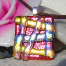 Shimmering Hatchwork Handmade Dichroic Glass Pendant