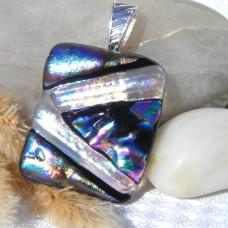 Fused Glass Handmade Dichroic Pendant - Metallic Coloured Geometric