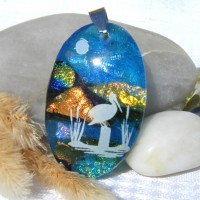 Fused Glass Handmade Dichroic Pendant - Stork at Lake