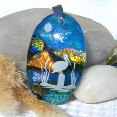 Fused Glass Handmade Dichroic Pendant - Stork at Lake