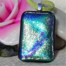 Blue Patterned Dichroic Glass Pendant