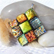 Fused Glass Handmade Dichroic Pendant - Hues of Gold Diamond Squares