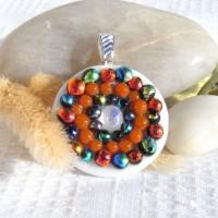 Fused Glass Handmade Dichroic Pendant - Mandala Dots