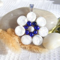 Fused Glass Handmade Dichroic Pendant - White Blue Circles
