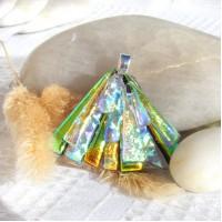 Fused Glass Handmade Dichroic Pendant - Gold Galore Fan
