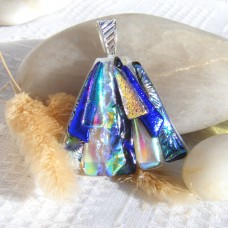 Fused Glass Handmade Dichroic Pendant - Large Blue and Pearl Fan