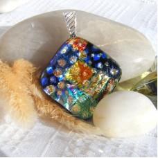Fused Glass Handmade Dichroic Pendant - Bling Sparkle Diamond