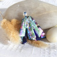 Fused Glass Handmade Dichroic Pendant - Green Gold Cerise Blue Fan