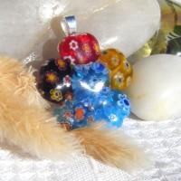 Fused Glass Handmade Pendant - Millefiori Hearts