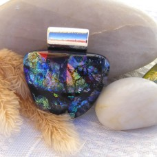 Fused Glass Handmade Dichroic Pendant - Faux Black Opal