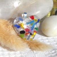 Fused Glass Handmade Dichroic Pendant - Silver Based Heart