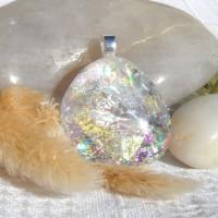 Fused Glass Handmade Dichroic Pendant - Faux White Opal