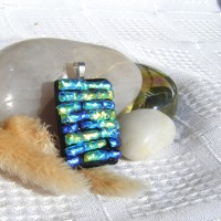 Fused Glass Handmade Dichroic Pendant - Hues of Greens and Blues