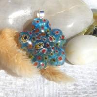 Fused Glass Handmade Pendant - Blue Millefiori Hearts