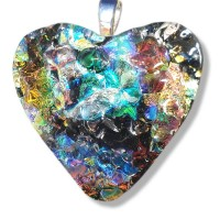 Fused Glass Handmade Dichroic Pendant - Stunning Colourful Heart