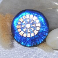 Fused Glass Handmade Dichroic Pendant - Vivid Blue with Gold Accent