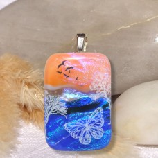 Fused Glass Handmade Dichroic Pendant - Scenic Butterflies and Birds