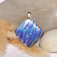 Fused Glass Handmade Dichroic Pendant - Colourful Zebra Diamond