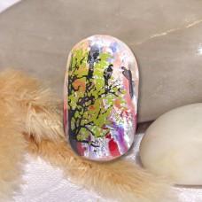 Fused Glass Handmade Dichroic Pendant - Sunset Birds
