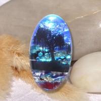 Fused Glass Handmade Dichroic Pendant - Amazing Tree of Life Scene