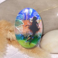 Fused Glass Handmade Dichroic Pendant - Scenic Garden Fairy