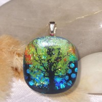 Fused Glass Handmade Dichroic Pendant - Shimmering Tree of Life