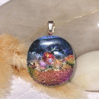 Fused Glass Handmade Dichroic Pendant - Outer Space Fauna and Flora